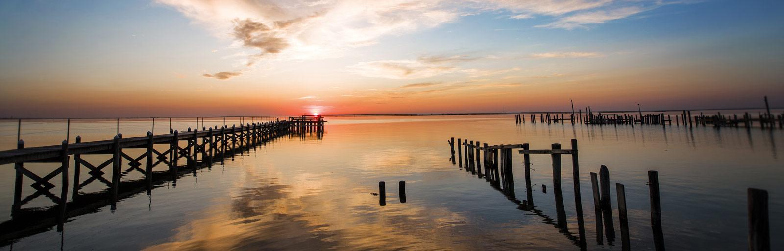 long beach island pier sunset